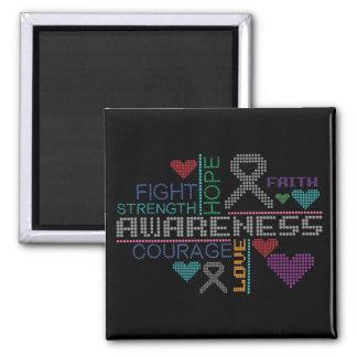 Brain Tumor Colorful Slogans Magnet