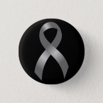 Brain Tumor | Diabetes | Grey Ribbon Pinback Button