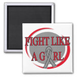 Brain Tumor Fight Like A Girl Circular Refrigerator Magnets