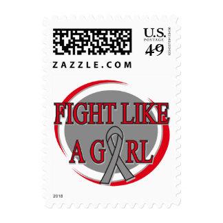 Brain Tumor Fight Like A Girl Circular Postage