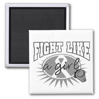Brain Tumor Fight Like A Girl Sporty Callout Fridge Magnet