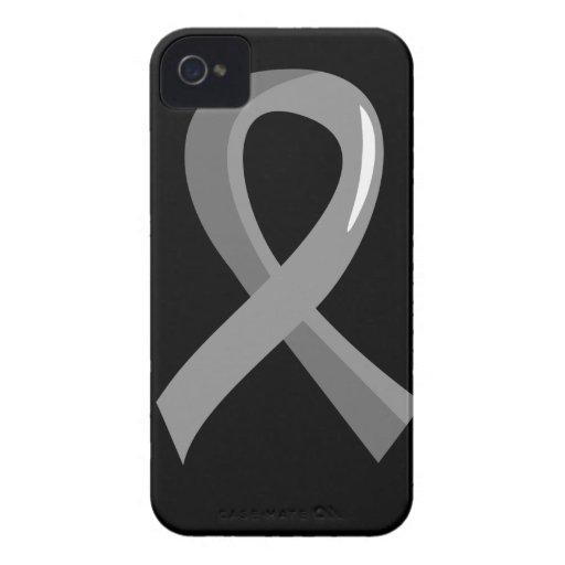 Brain Tumor Grey Ribbon 3 iPhone 4 Case