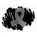 Brain Tumor Grey Ribbon With Scribble Postcard