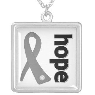 Brain Tumor Hope Gray Ribbon Square Pendant Necklace