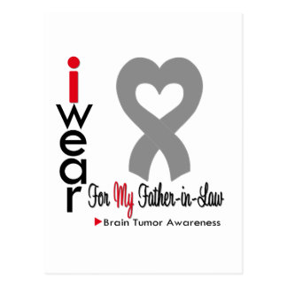 Brain Tumor I Wear Gray Ribbon For Father in Law Postcard
