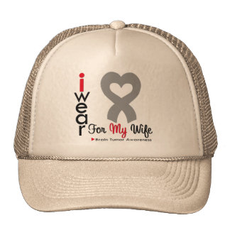 Brain Tumor I Wear Gray Ribbon For My Wife Mesh Hat