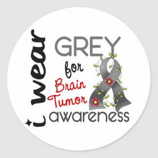 Brain Tumor I Wear Grey For Awareness 43 Classic Round Sticker