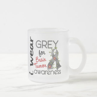 Brain Tumor I Wear Grey For Awareness 43 Frosted Glass Coffee Mug