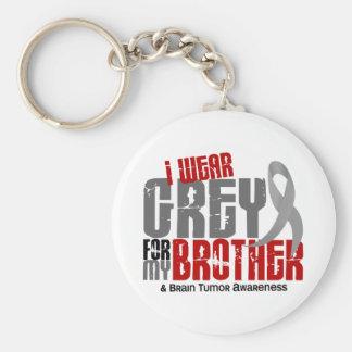 Brain Tumor I Wear Grey For My Brother 6.2 Keychain