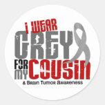 Brain Tumor I Wear Grey For My Cousin 6.2 Round Sticker
