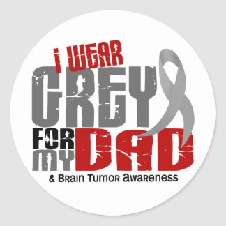 Brain Tumor I Wear Grey For My Dad 6.2 Classic Round Sticker