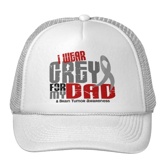 Brain Tumor I Wear Grey For My Dad 6.2 Trucker Hat