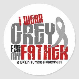Brain Tumor I Wear Grey For My Father 6.2 Classic Round Sticker