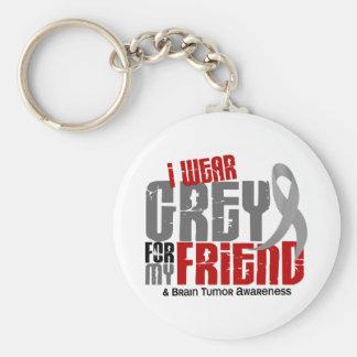 Brain Tumor I Wear Grey For My Friend 6.2 Basic Round Button Keychain