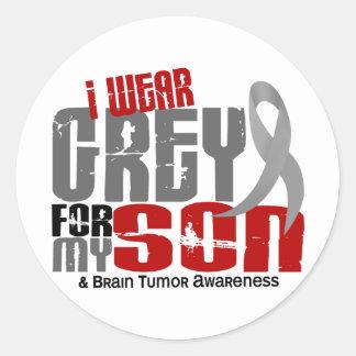 Brain Tumor I Wear Grey For My Son 6.2 Classic Round Sticker