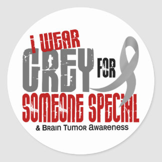 Brain Tumor I Wear Grey For Someone Special 6.2 Classic Round Sticker