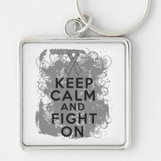 Brain Tumor Keep Calm and Fight On Key Chain