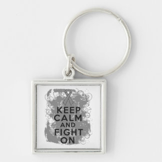 Brain Tumor Keep Calm and Fight On Keychain