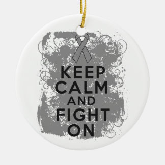 Brain Tumor Keep Calm and Fight On Christmas Ornaments