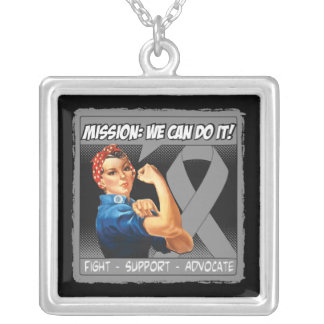Brain Tumor Mission We Can Do It Square Pendant Necklace