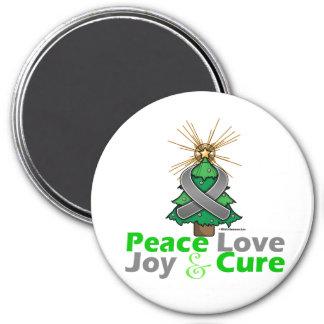 Brain Tumor Peace Love Joy Cure 3 Inch Round Magnet