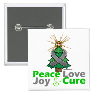 Brain Tumor Peace Love Joy Cure Buttons