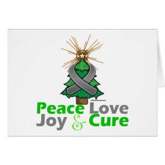 Brain Tumor Peace Love Joy Cure Greeting Card