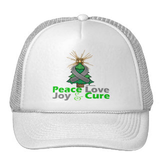 Brain Tumor Peace Love Joy Cure Trucker Hat