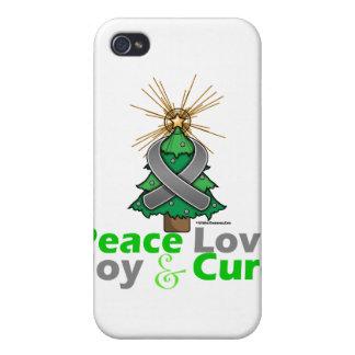 Brain Tumor Peace Love Joy Cure iPhone 4 Case