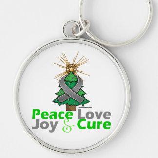Brain Tumor Peace Love Joy Cure Key Chain