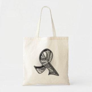 Brain Tumor Slogan Watermark Ribbon Canvas Bags