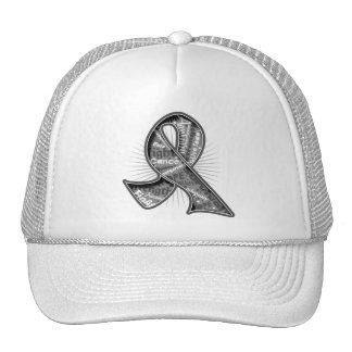Brain Tumor Slogan Watermark Ribbon Trucker Hat