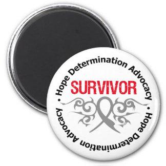 Brain Tumor Survivor Tribal Ribbon Fridge Magnet