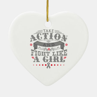 Brain Tumor Take Action Fight Like A Girl Double-Sided Heart Ceramic Christmas Ornament