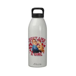 Brain Tumor Vintage Rosie Fight Like A Girl Water Bottles