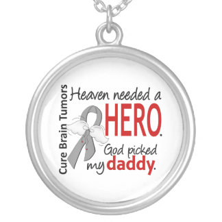 Brain Tumors Heaven Needed a Hero Daddy Round Pendant Necklace