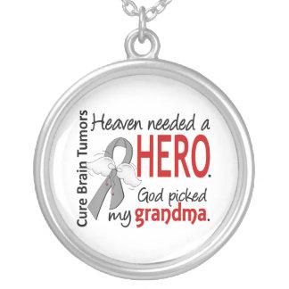 Brain Tumors Heaven Needed a Hero Grandma Round Pendant Necklace