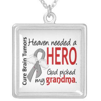 Brain Tumors Heaven Needed a Hero Grandma Square Pendant Necklace