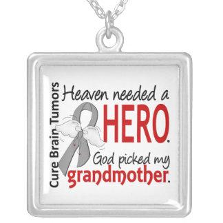 Brain Tumors Heaven Needed a Hero Grandmother Square Pendant Necklace