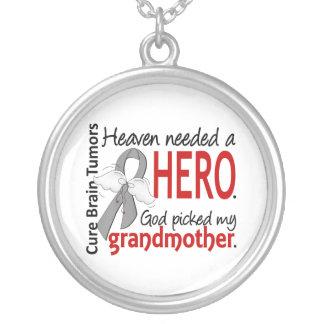 Brain Tumors Heaven Needed a Hero Grandmother Round Pendant Necklace