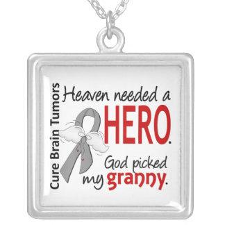 Brain Tumors Heaven Needed a Hero Granny Square Pendant Necklace