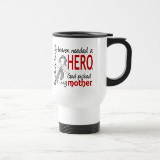 Brain Tumors Heaven Needed a Hero Mother 15 Oz Stainless Steel Travel Mug