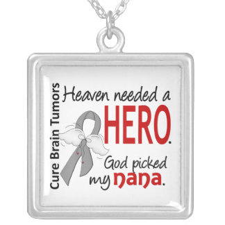 Brain Tumors Heaven Needed a Hero Nana Square Pendant Necklace