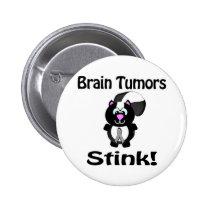 Brain Tumors Stink Skunk Awareness Design Pinback Button