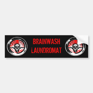 Brain wash wash wash round bumper sticker