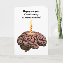 Brain with candle band aid craniversary card