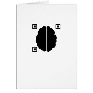 Brain with Data Matrix (blank inside) Greeting Card