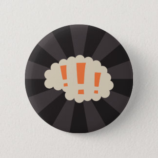 Brain with exclamation marks pinback button