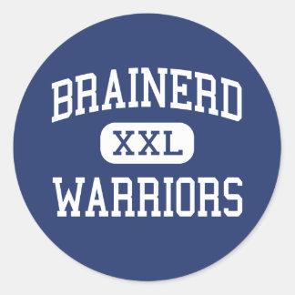 Brainerd - guerreros - alto - Brainerd Minnesota Pegatina Redonda