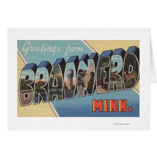 Brainerd, Minnesota - Large Letter Scenes Greeting Card